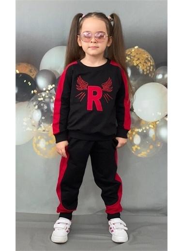 Riccotarz Unisex Çocuk R Harfli Kırmızı Siyah Eşofman Takım Renkli